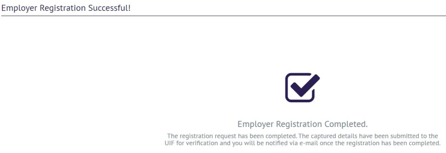 UIF Registration Confirmation Page