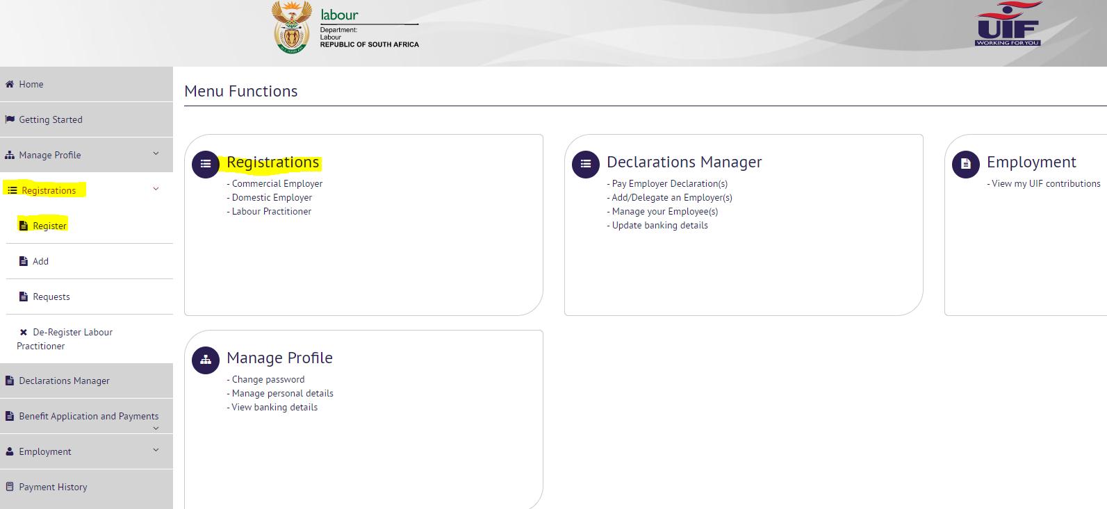 UIF Registration Page